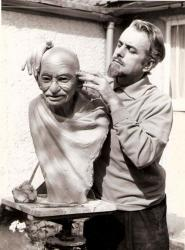 Family History Photo of the Week Winner: Geoffrey Davien Sculpting Ghandi