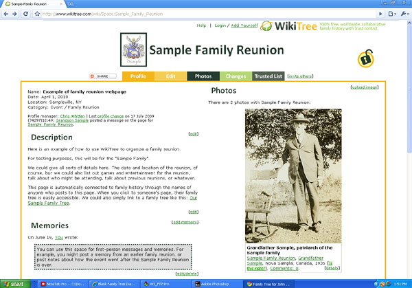 sample family reunion webpage