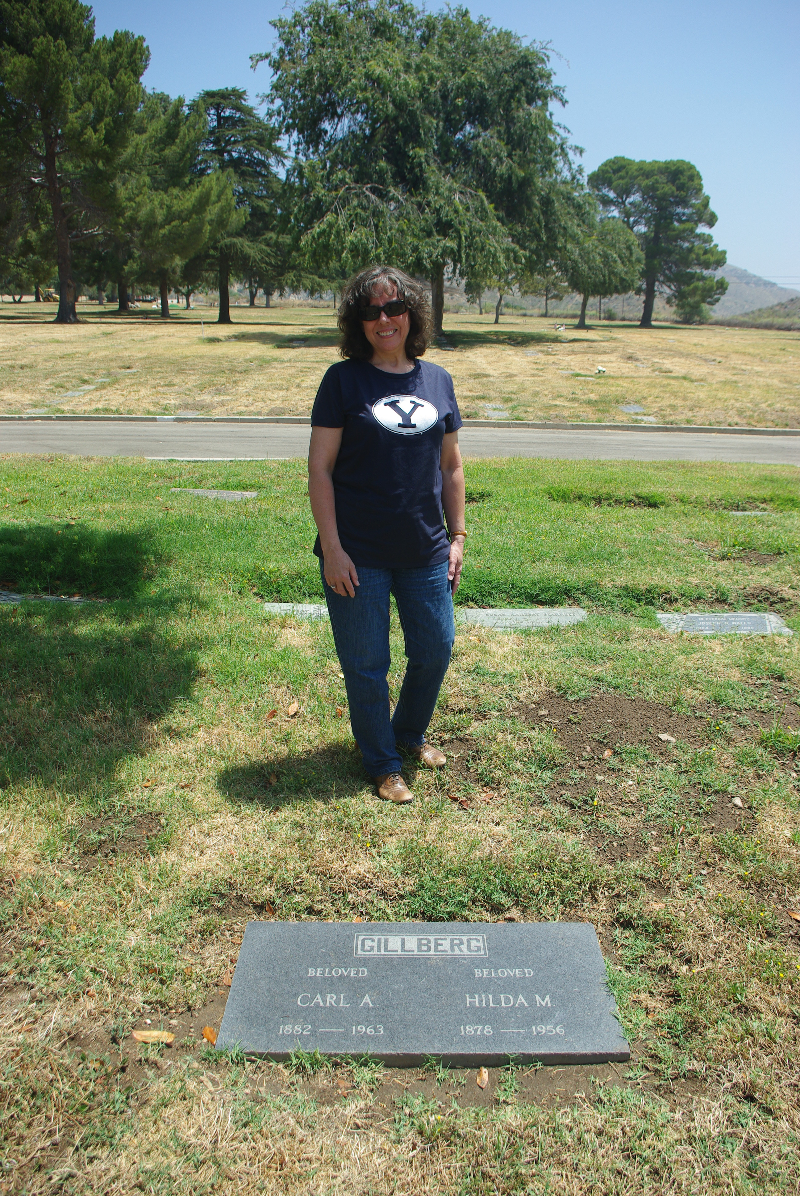 At the gravemarker of her paternal great-grandparents