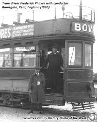 Family History Photo of the Week (4 May 2018): Tram driver Frederick Phayre with conductor