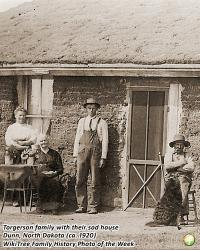 Family History Photo of the Week Winner (22 September 2017): Hans Torgerson & family with their sod house