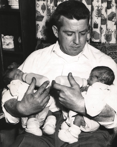 William Wills and his twin girls