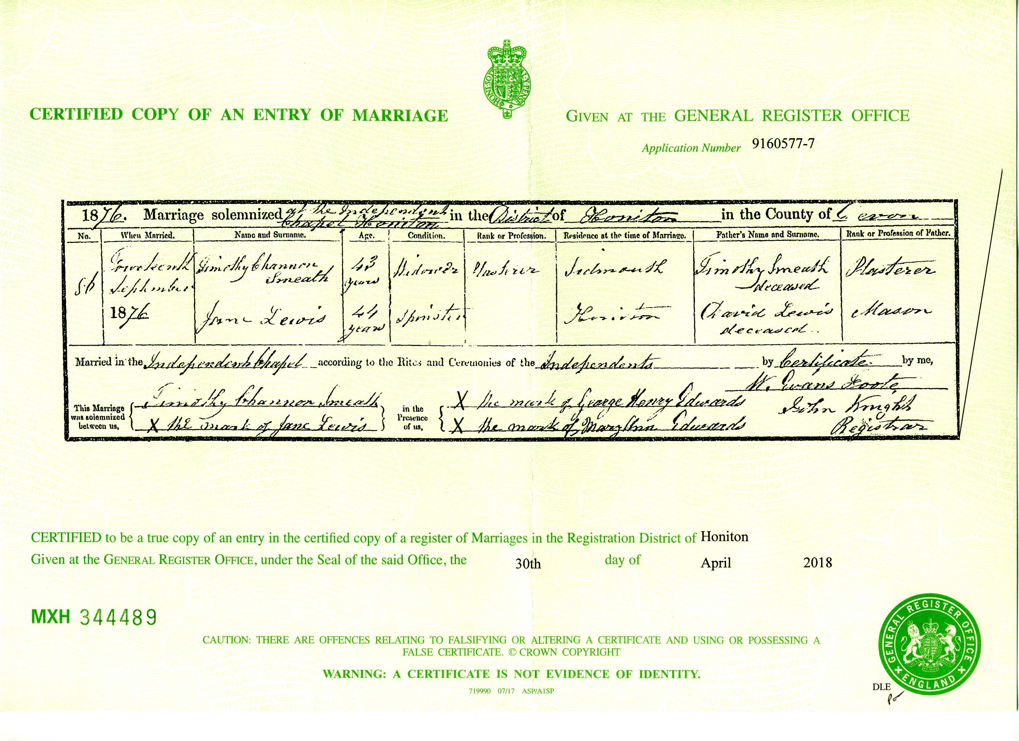 Marriage Certificate For Timothy Smeath And Jane Lewis