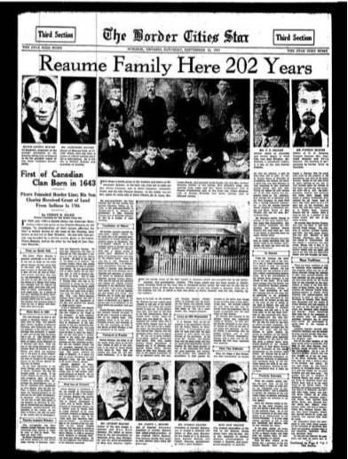 reaume family here 202 years  1933 newspaper article