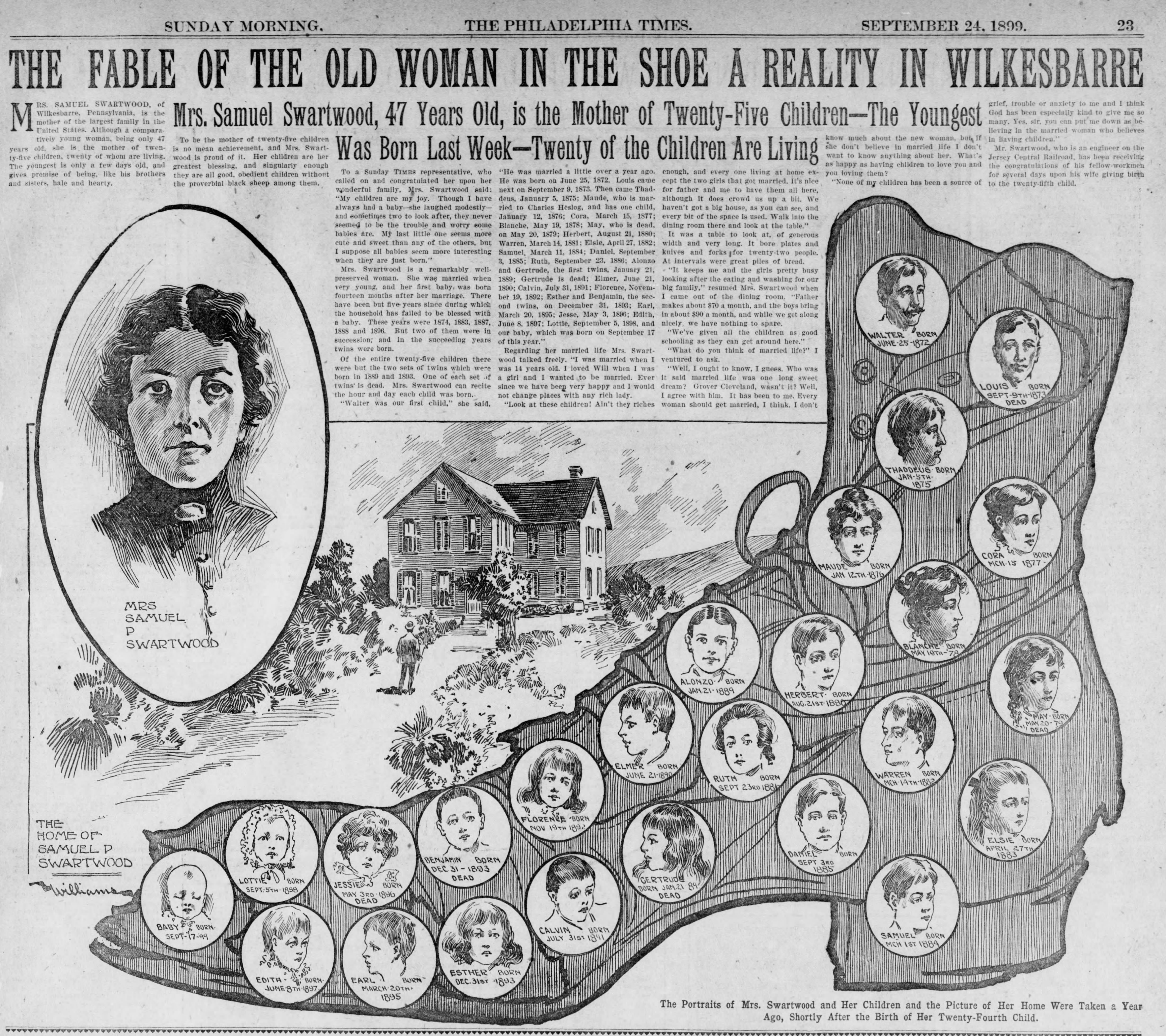 The Fable of the Old Woman in the Shoe a Reality in Wilkesbarre