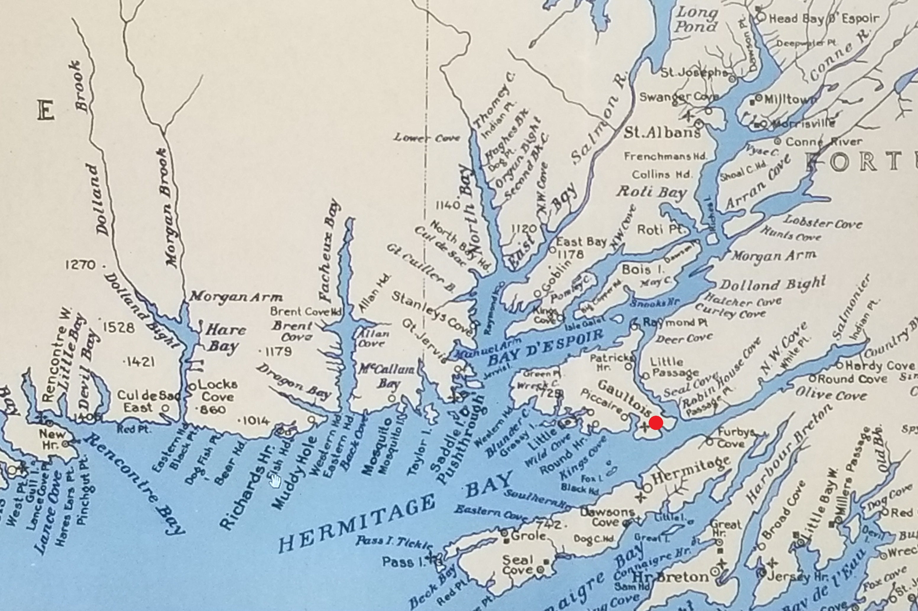 Detail of 1941 Ten Mile Map of Newfoundland showing Gaultois on