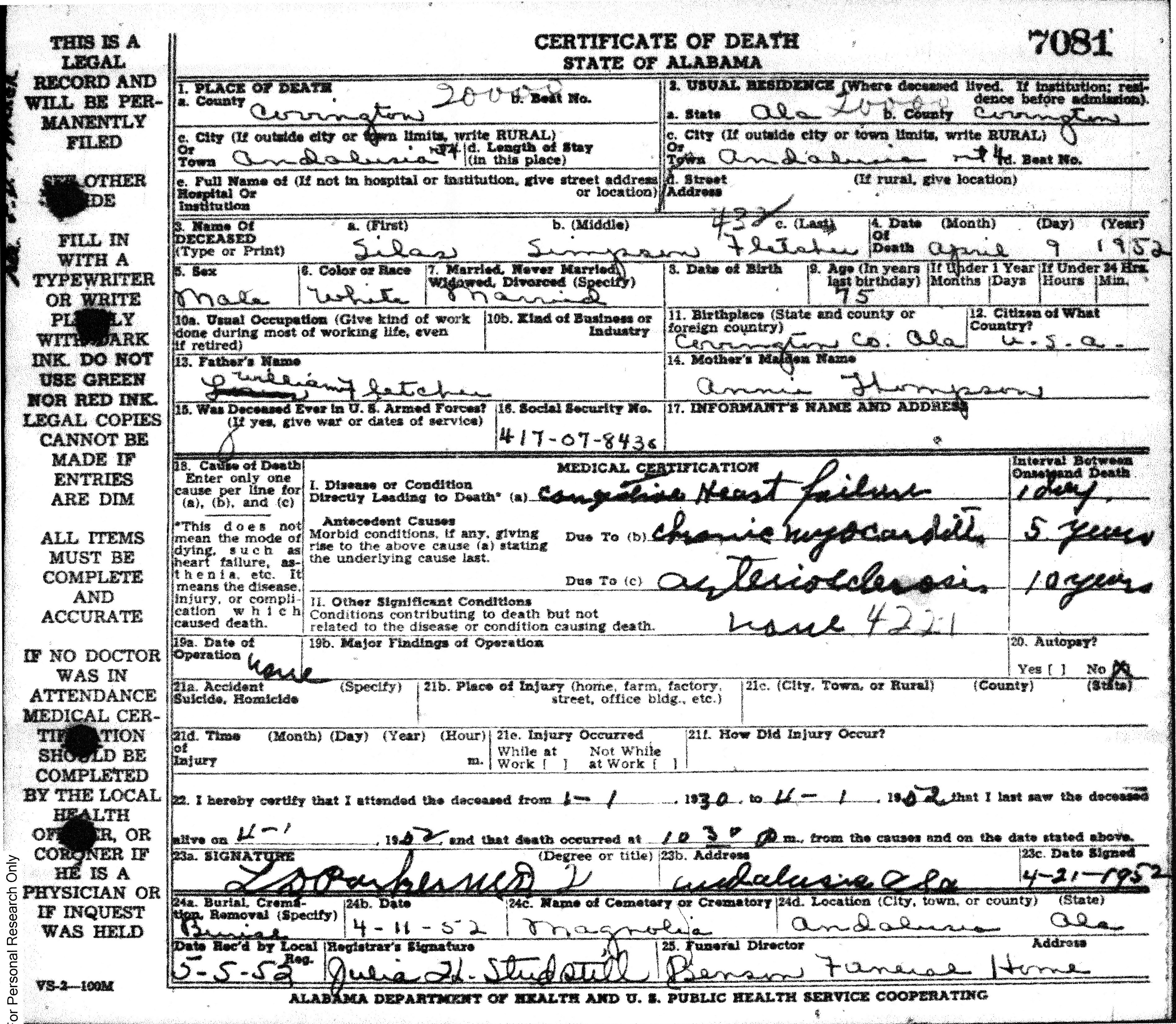 Silas Fletcher death certificate