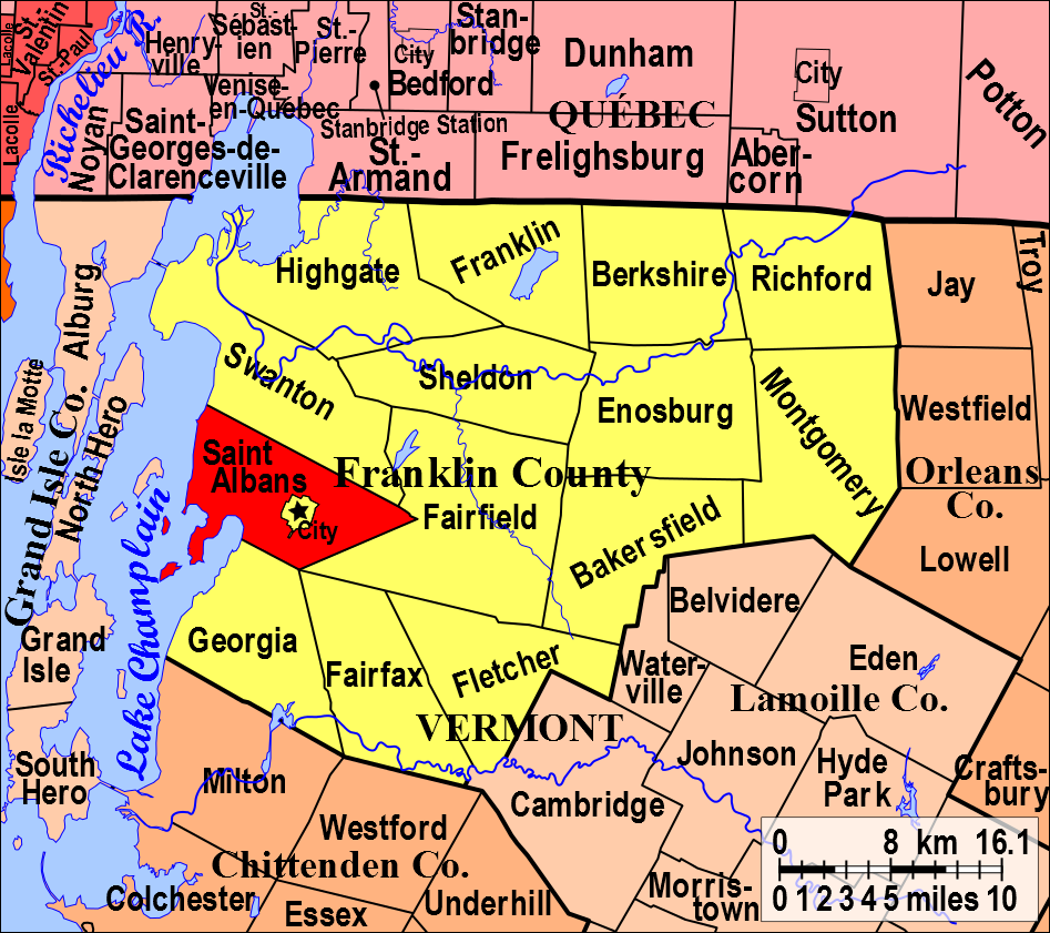St Albans In Franklin County Vermont - Vermont in usa map