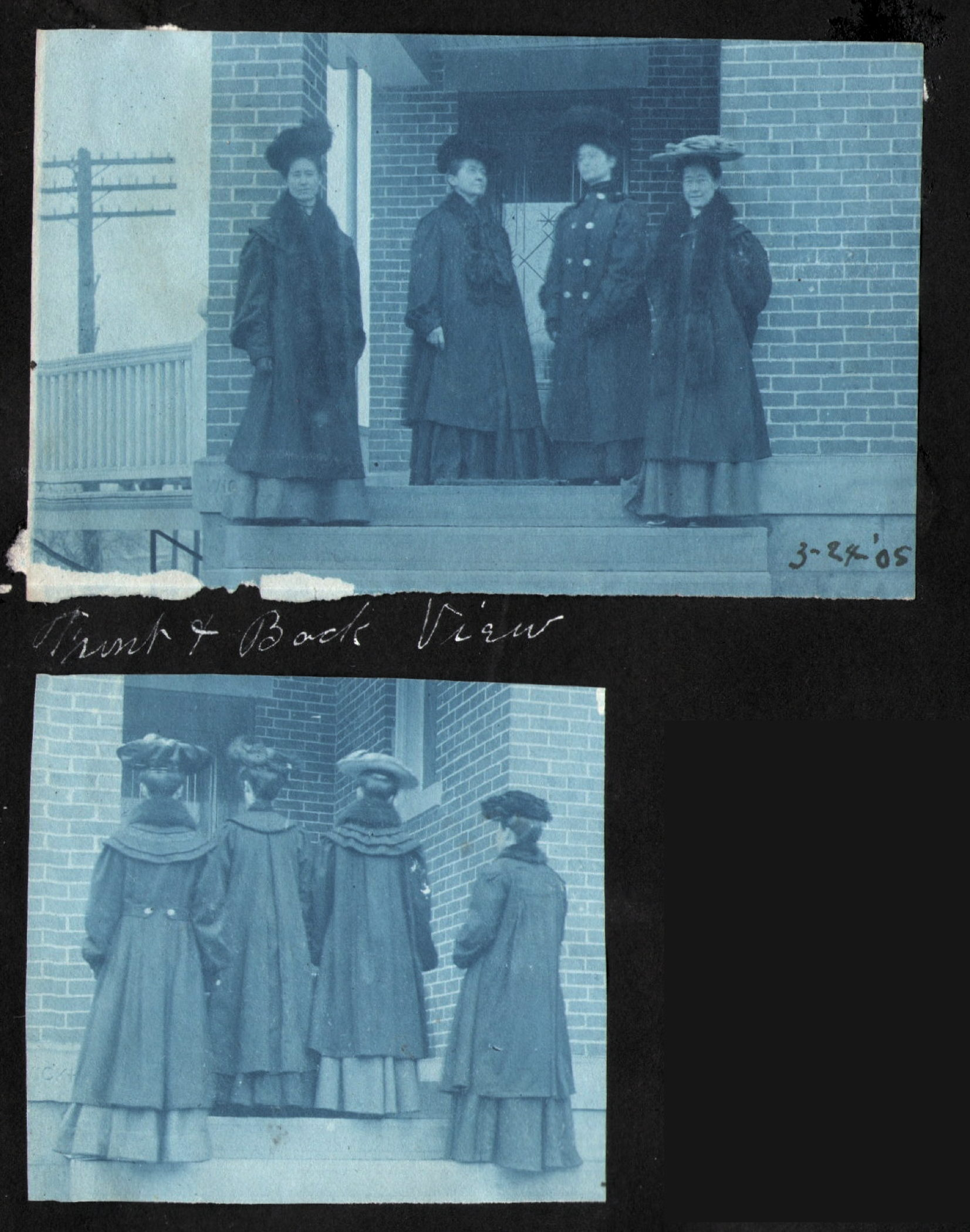 Front and back view of women in fancy coats and hats, 1905