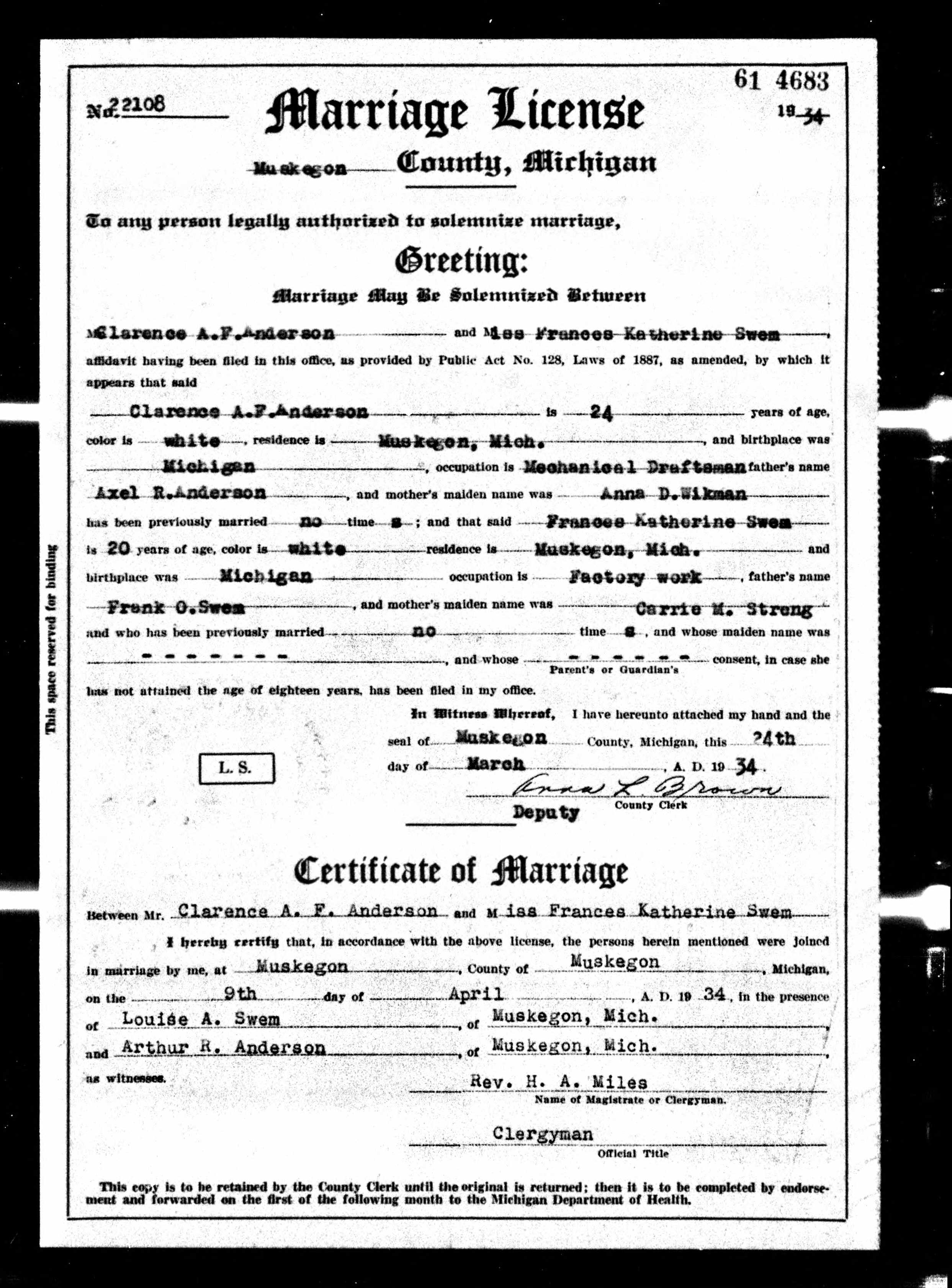 Anderson Clarence And Swem Frances Marriage License 09 Apr 1934