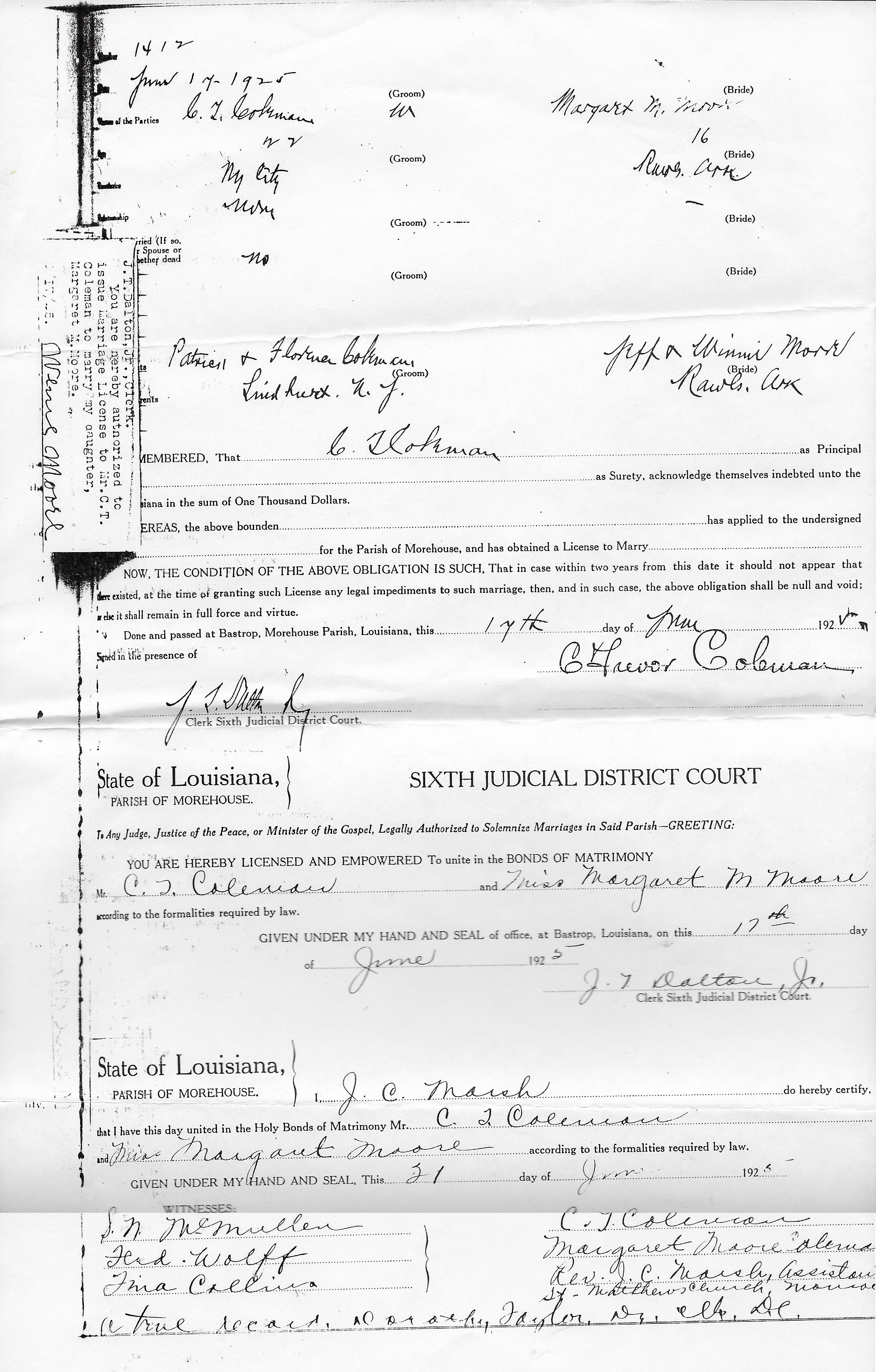 Marriage Certificate For Charles Coleman And Margaret Moore