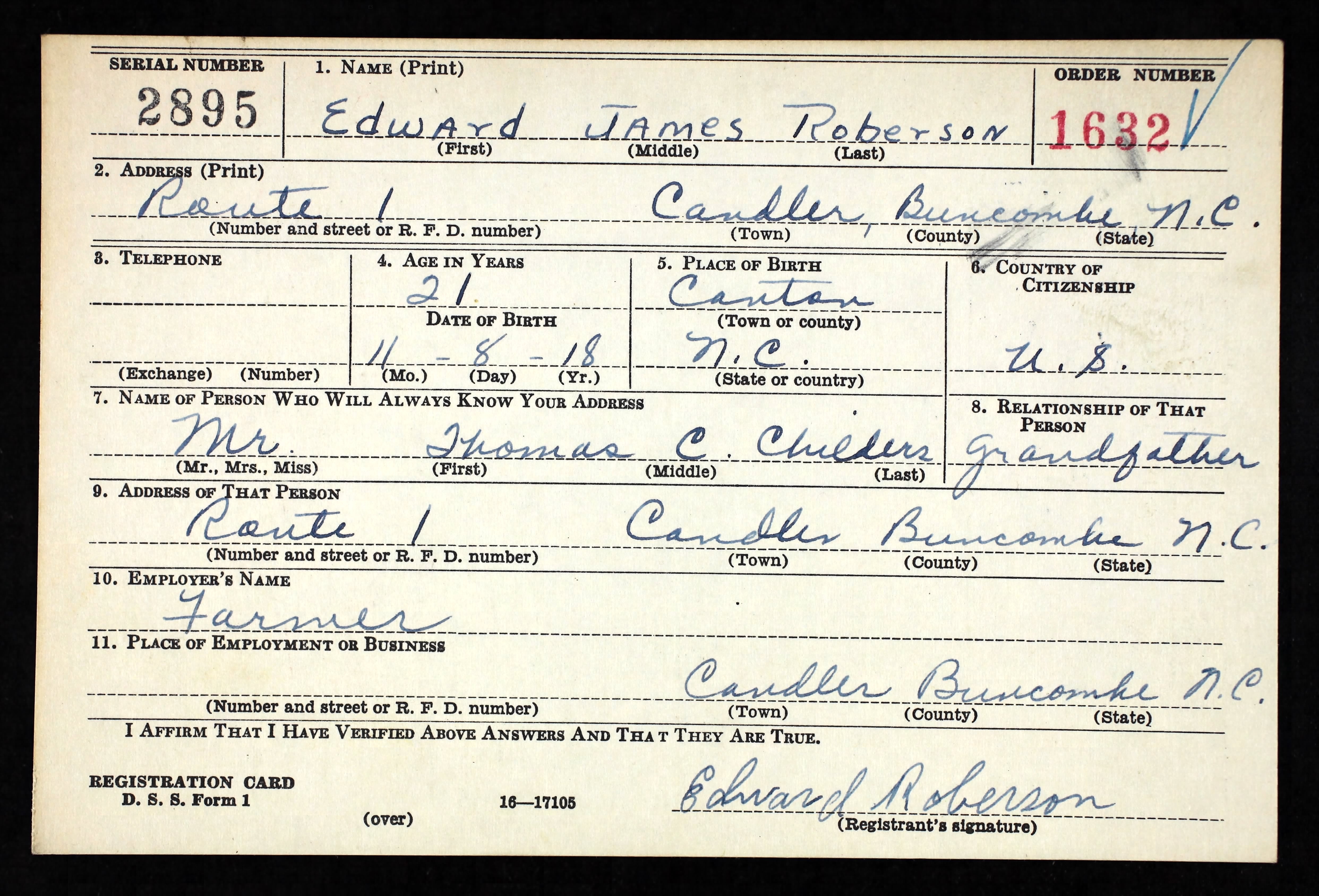 Wwii Selective Service Card Front