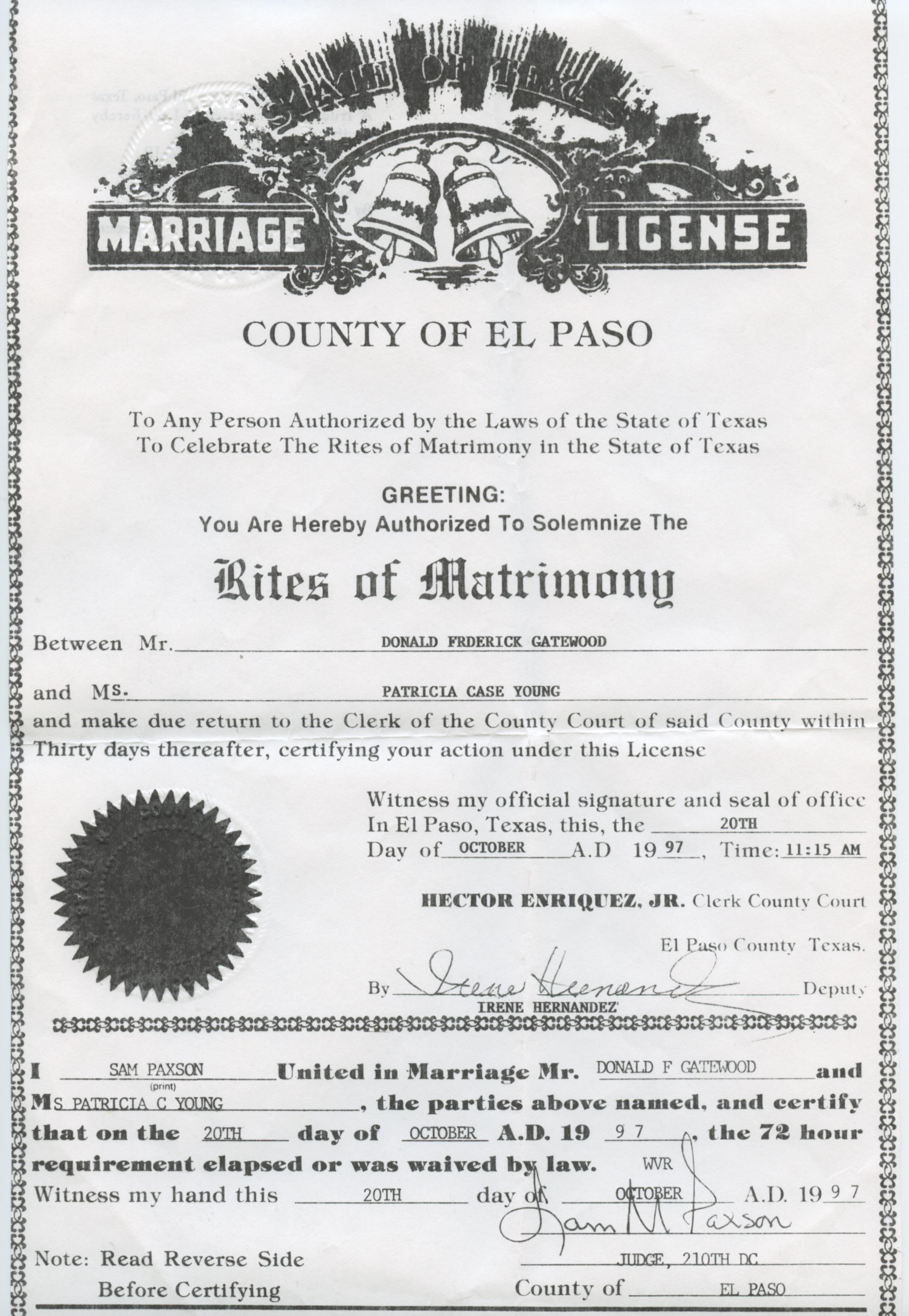 el paso texas marriage certificate