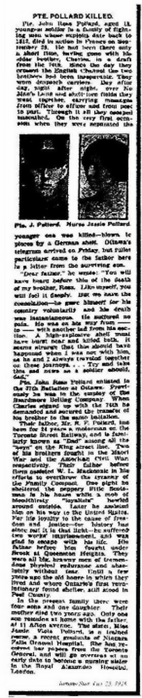 Obituary - Toronto Star October 29, 1916 John Ross Pollard