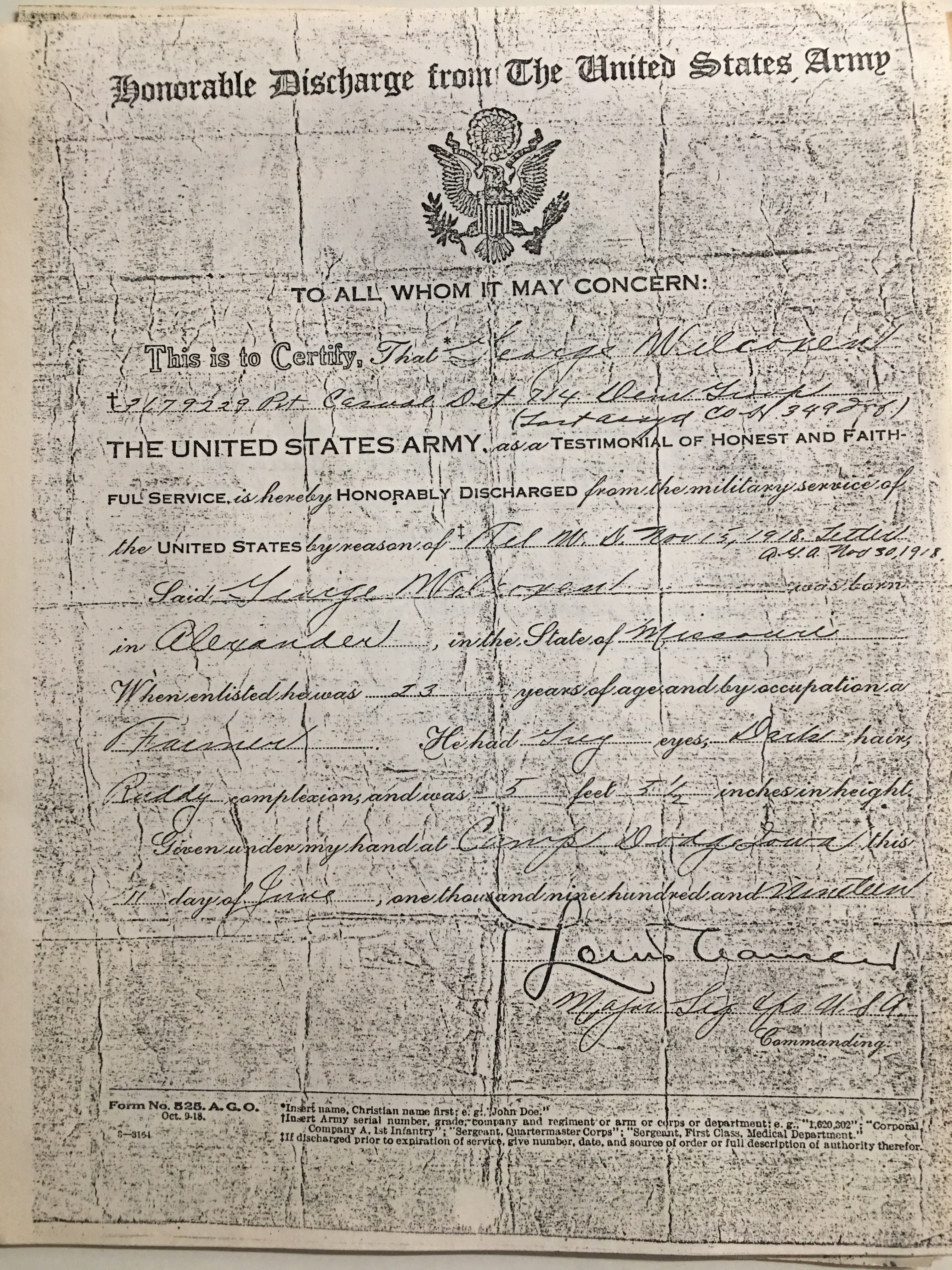 Us Army Honorable Discharge Certificate George Wayne Wilcoxen Sr