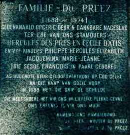 Monument to the Du Preez family name