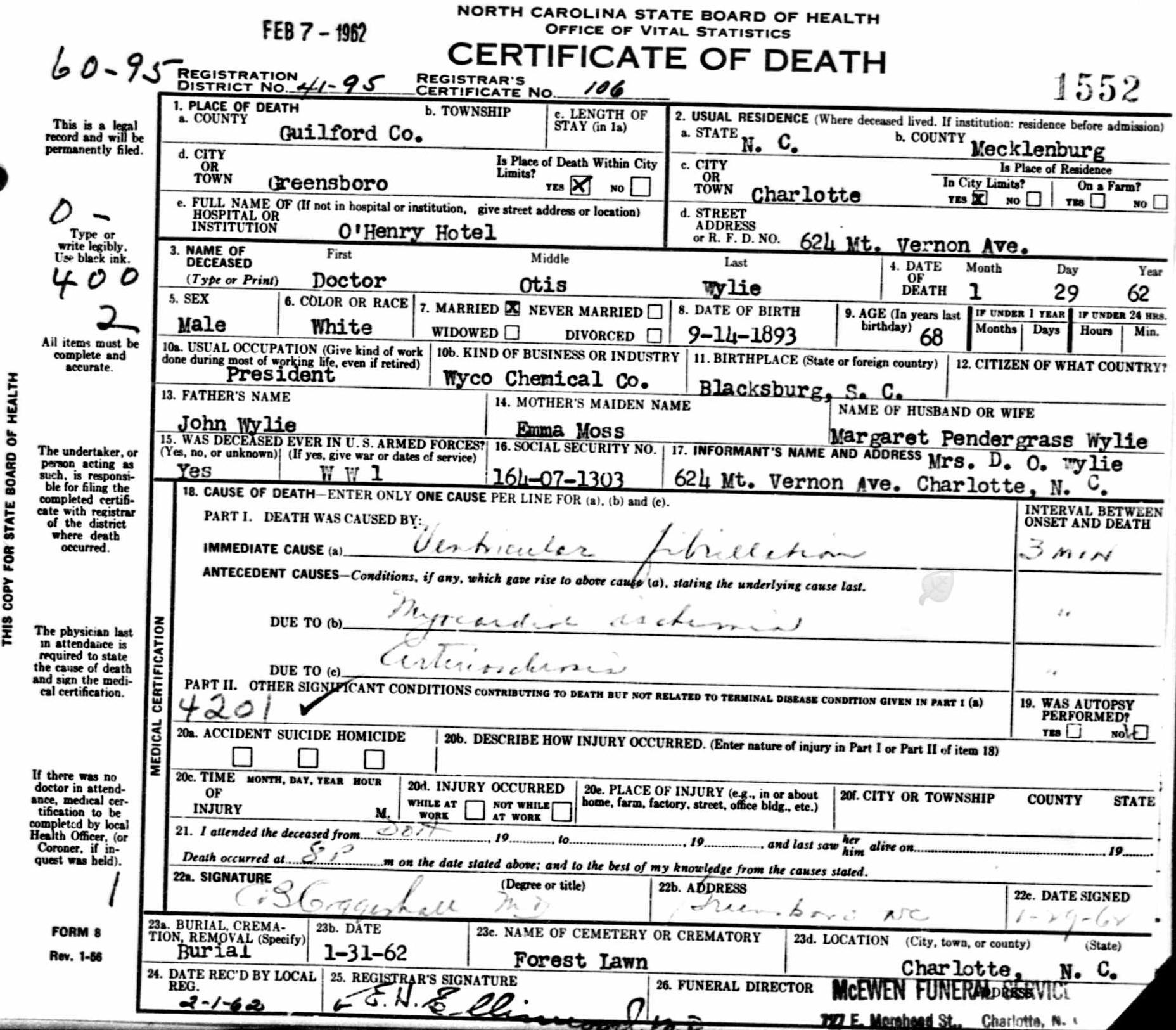 North Carolina Death Certificate