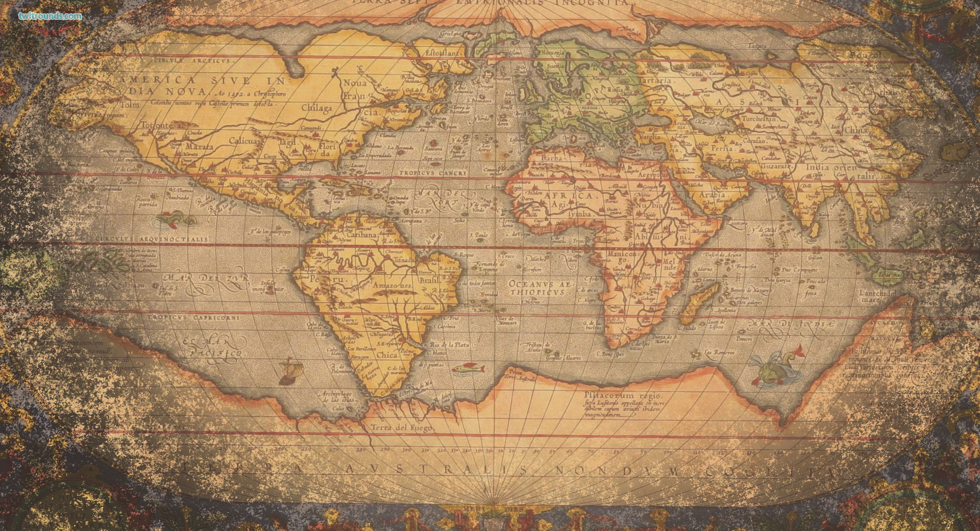 Vintage Looking World Map.Vintage World Map
