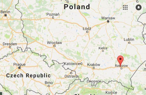 Map Showing Rzeszow Poland