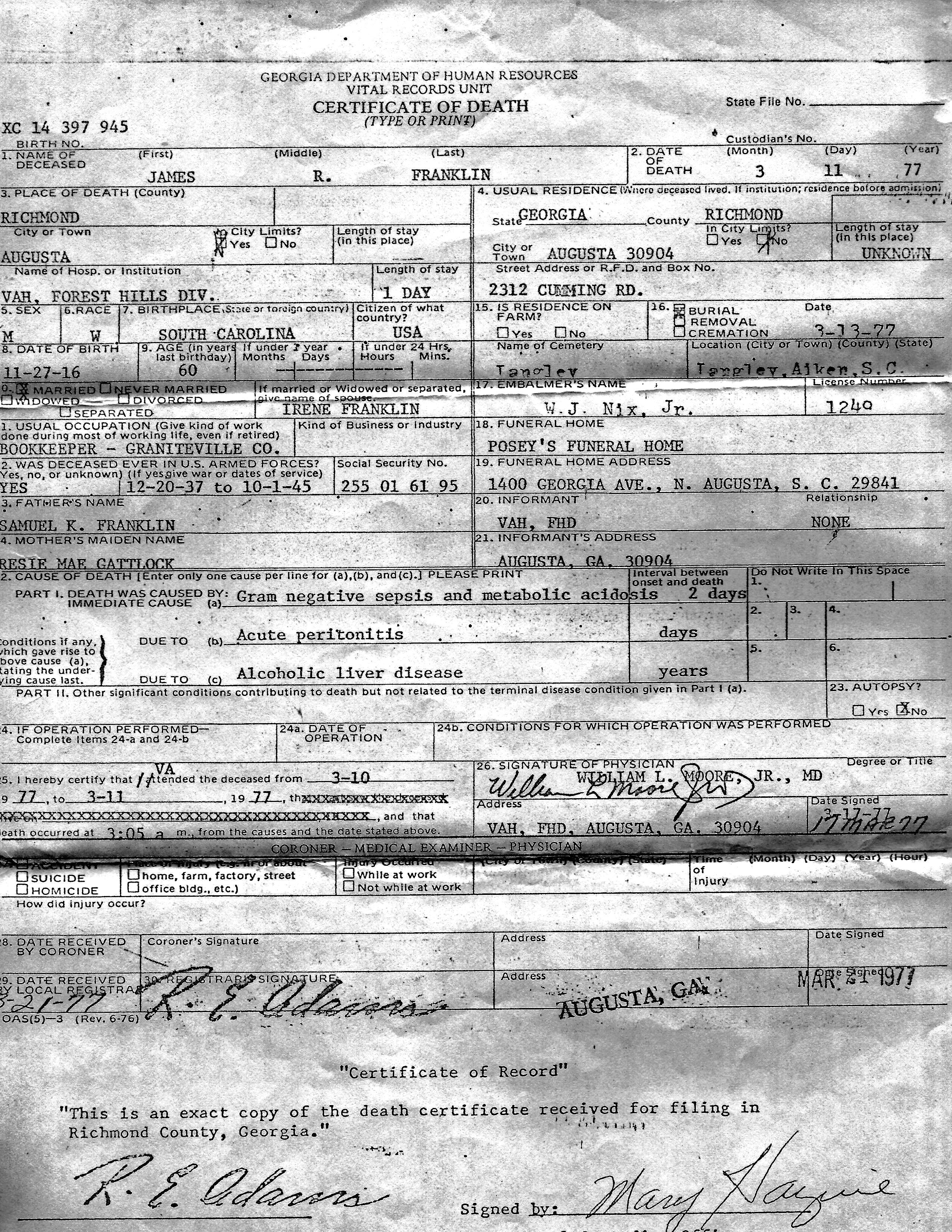 James Death Certificate
