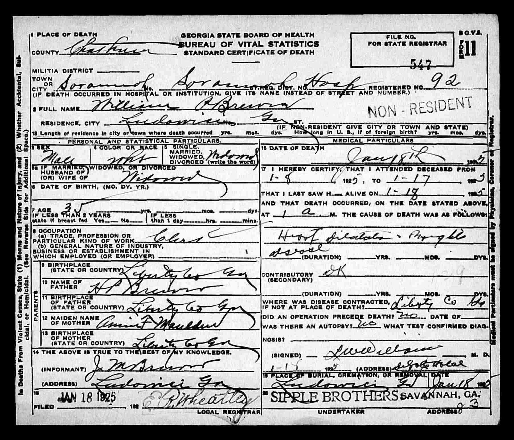 Death Certificate For William Paschal Brewer