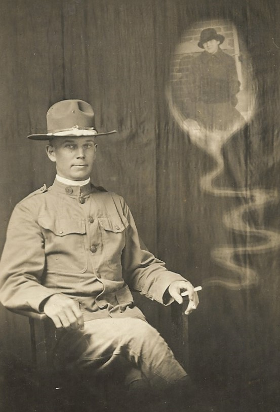 This  is a 1918 photo of my Great Uncle Harry McCleery [[McCleery-121| Harry McCleery]] wishing he was back home with his girlfriend and not away in WWI.