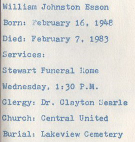 William Johnston Esson in memory card
