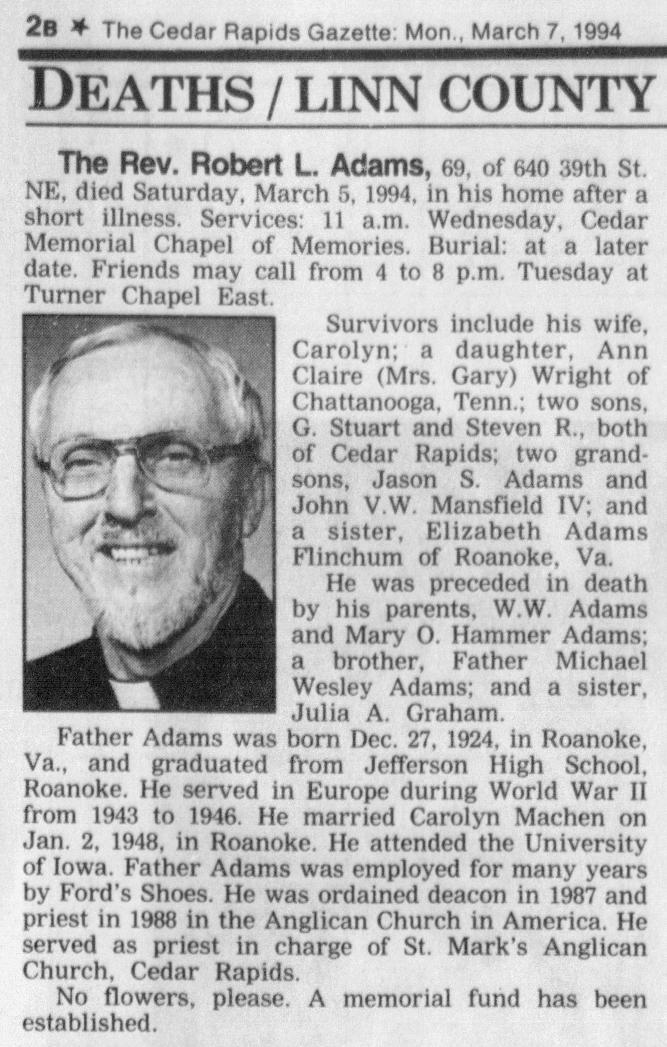 Reverend Robert Lee Adams Obituary