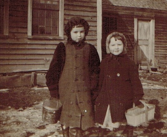 Katherine and Doris Clark with their school lunch baskets, circa 1896, SHutesbury, Massachusetts