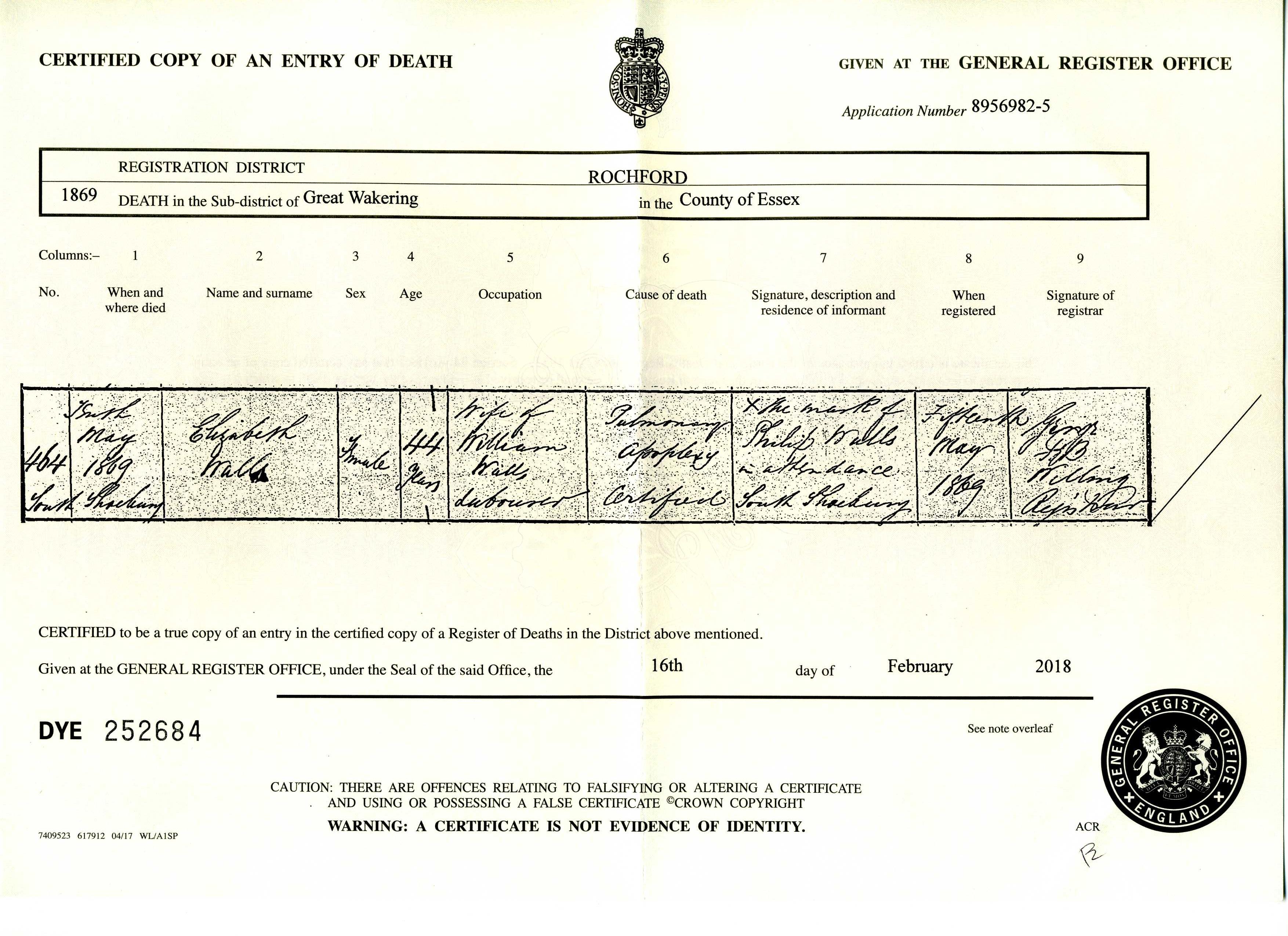 Death Certificate For Elizabeth Wall