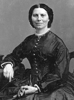 Clara Barton circa 1865 by Mathew Brady, Washington, D.C. Most famous and widely circulated photograph of Clara Barton