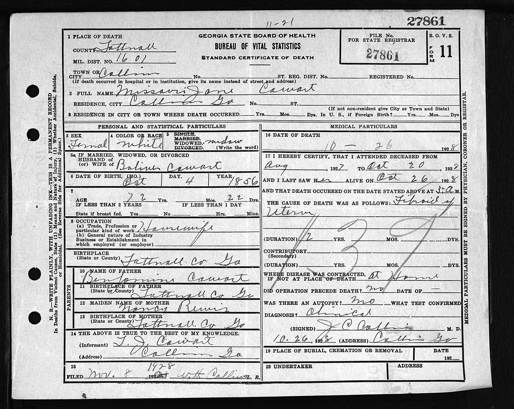 Missouri Jane Cowart Death Certificate