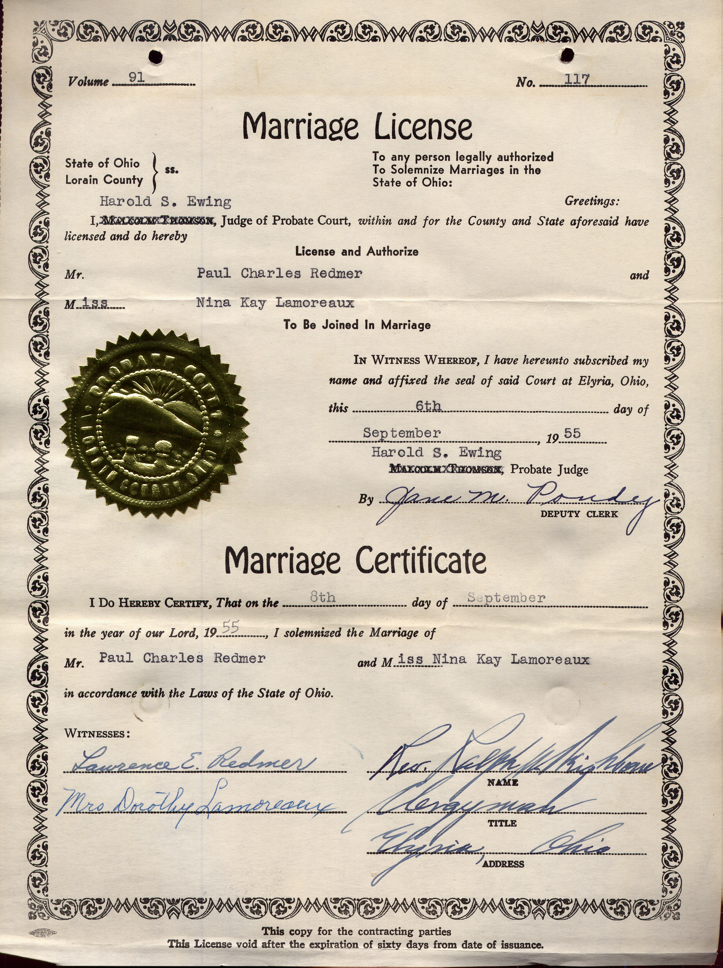Lamoreaux Nina Marriage License