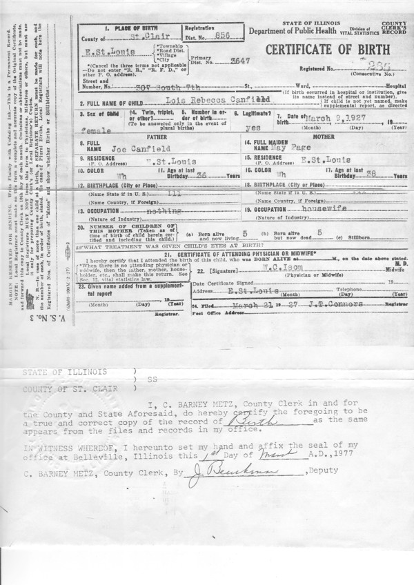 Canfield, Lois R: Birth Certificate