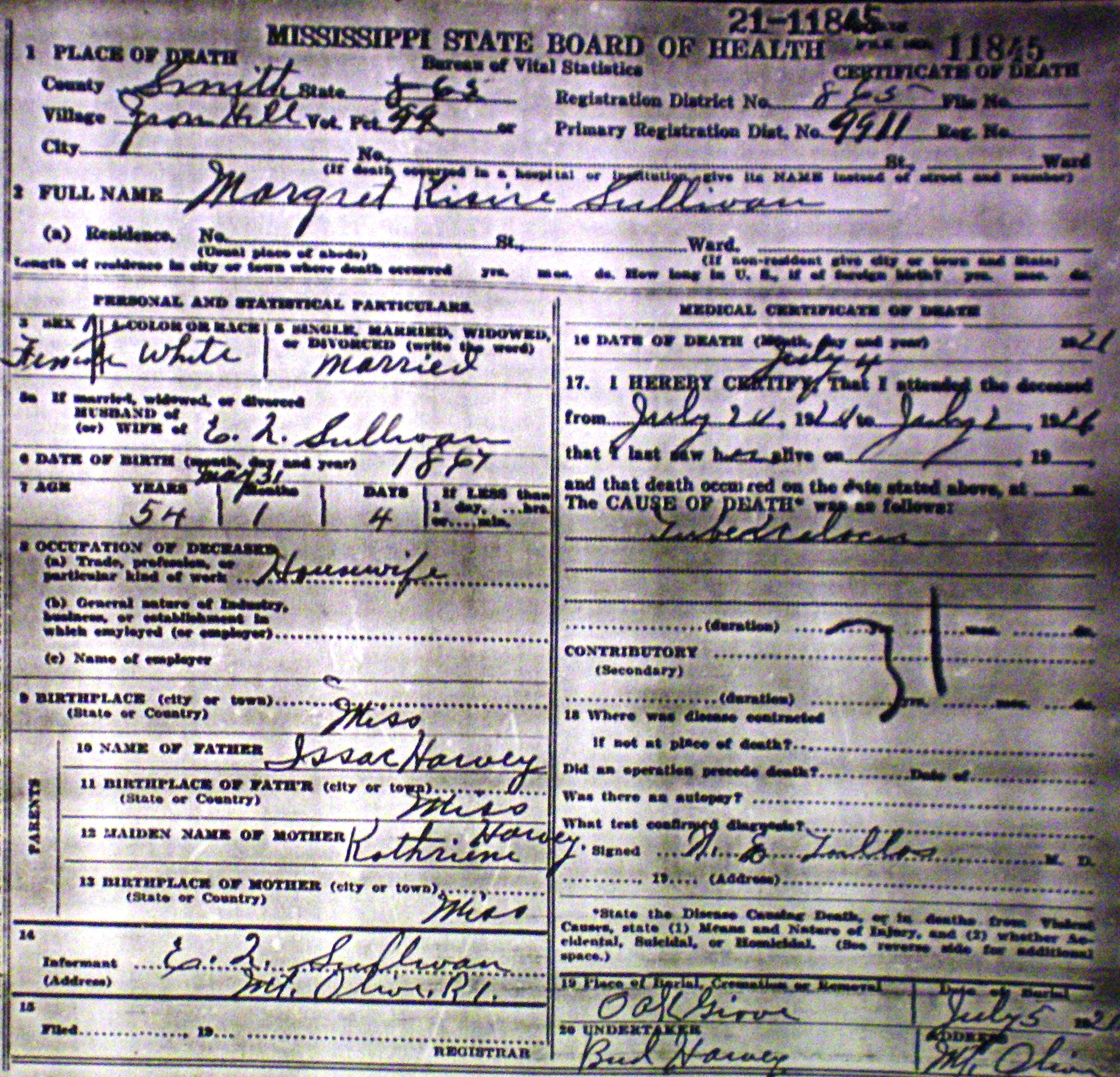 Margaret harvey sullivan death certificate original digital image 2220 x 2135 pixels xflitez Images