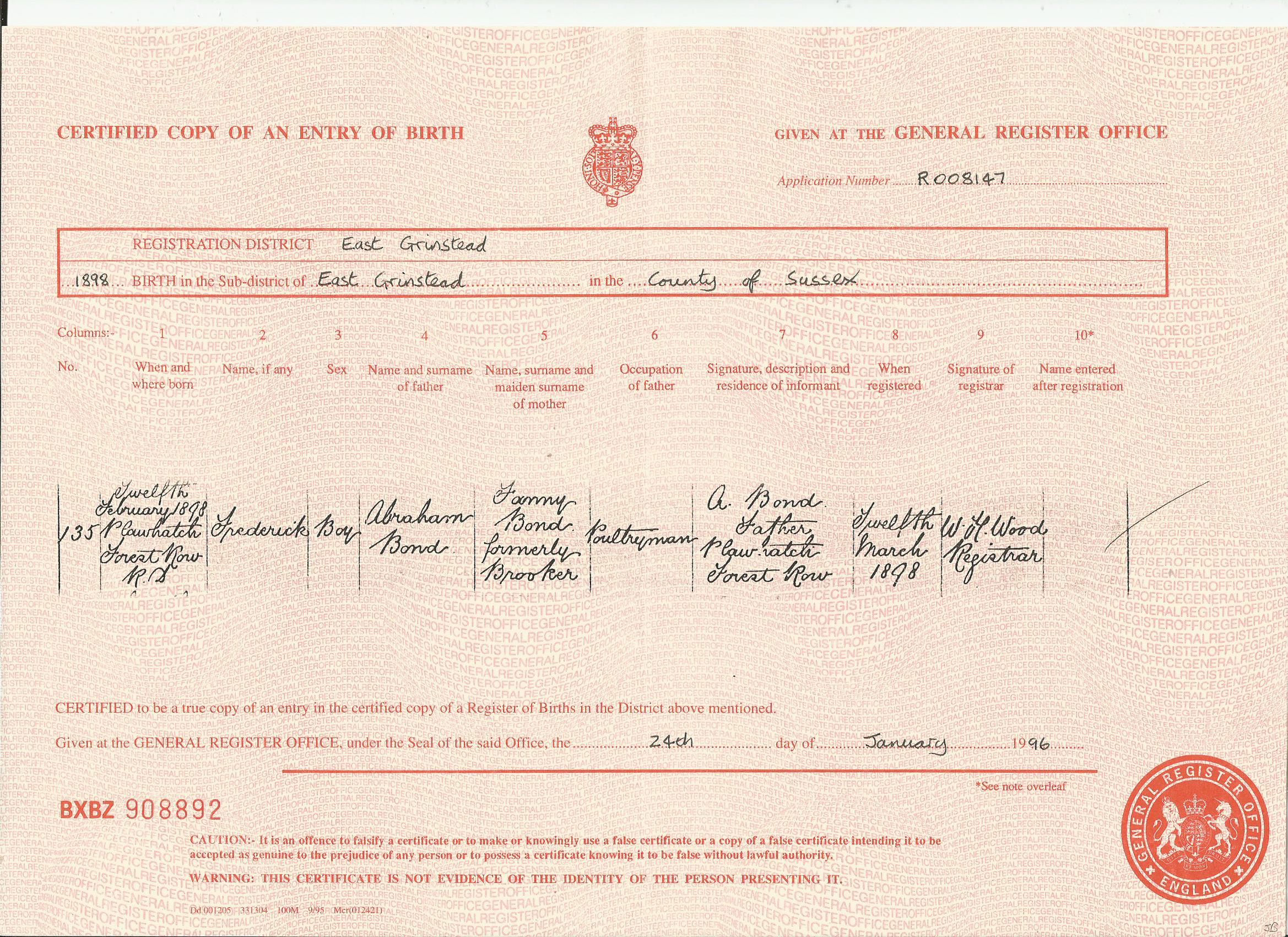 Birth Record For Frederick Bond 12 Feb 1898