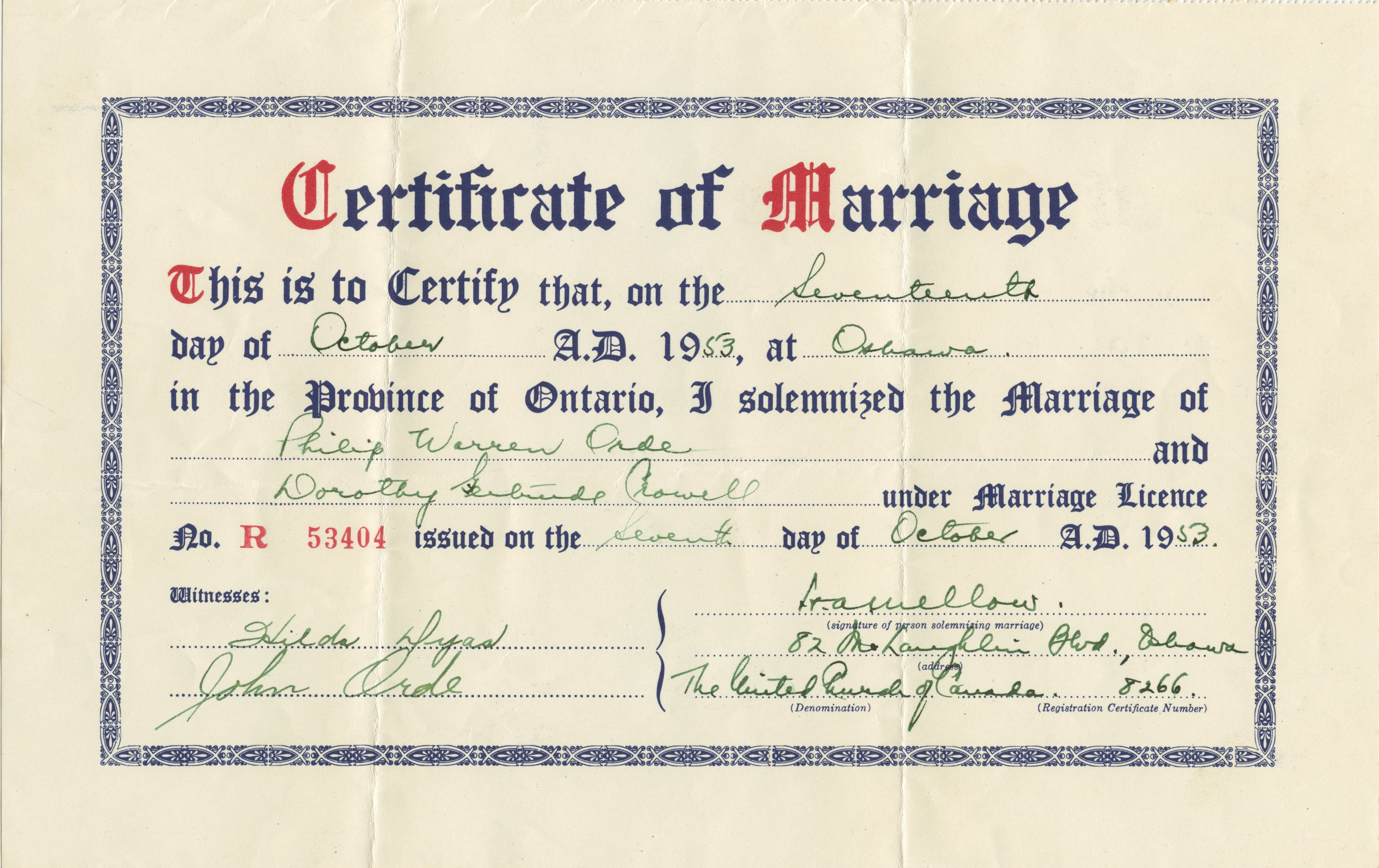 Marriage Certificate Dorothy Dyas Crowell To Philip Orde