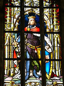 Rudolf I of Germany at stained glass in Saint Jerome's chapel in town hall in Olomouc (Czech Republic)