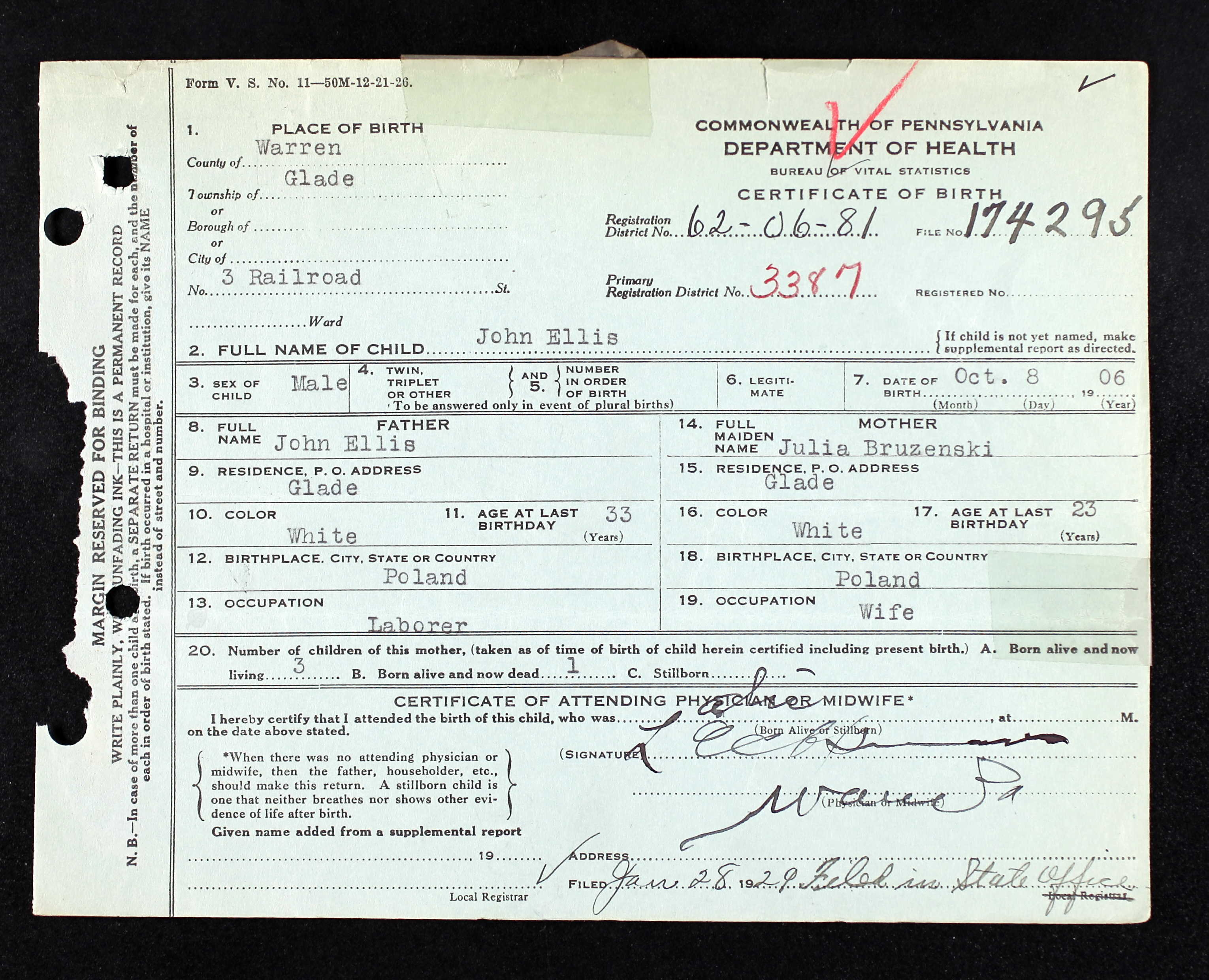 Pennsylvania Birth Certificates 1906 1910
