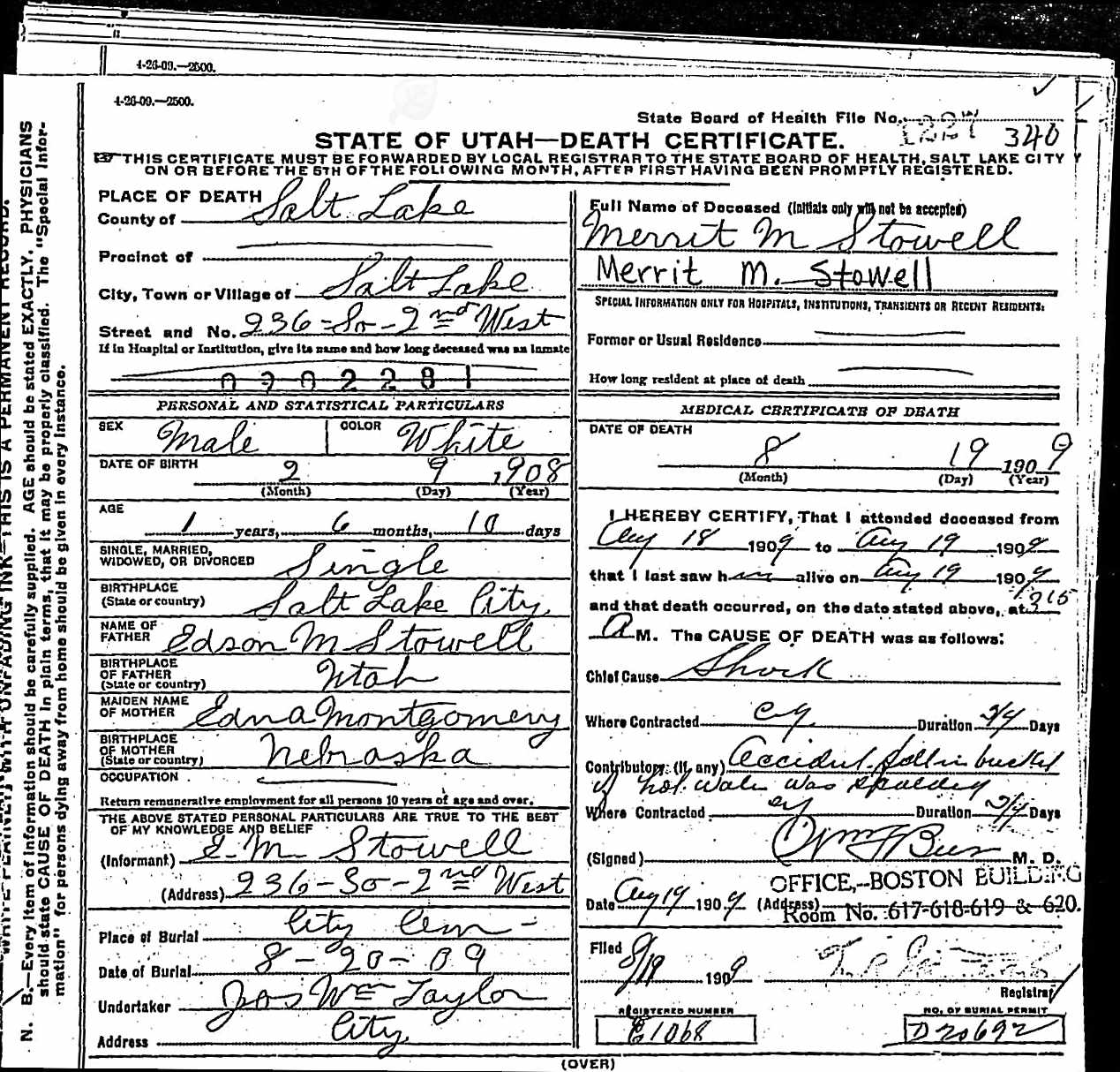 Utah Death And Military Death Certificates 1904 1961