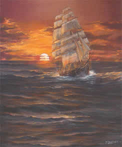 Clipper Ship at Sunset