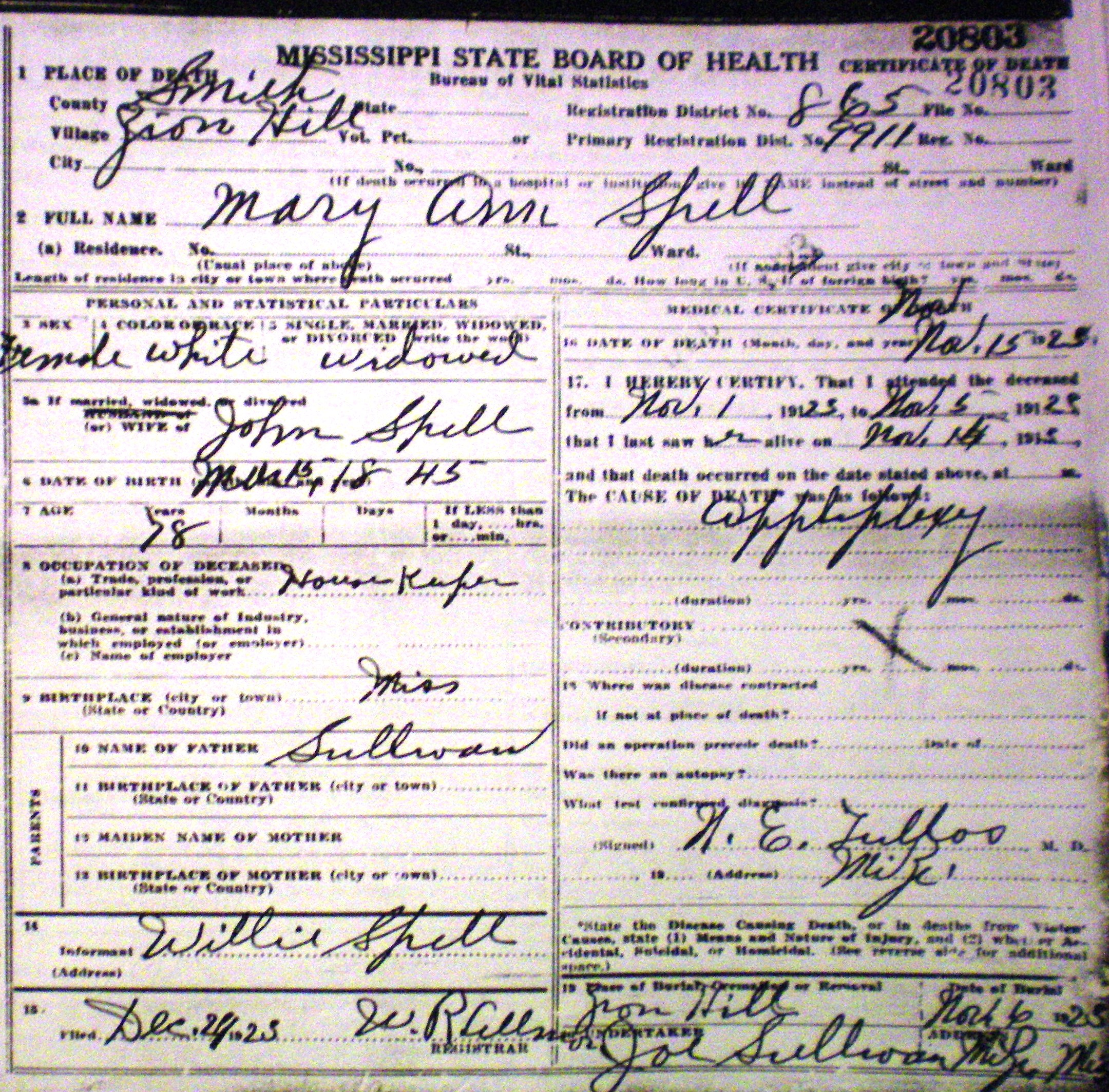 Mary Ann Spell Death Certificate