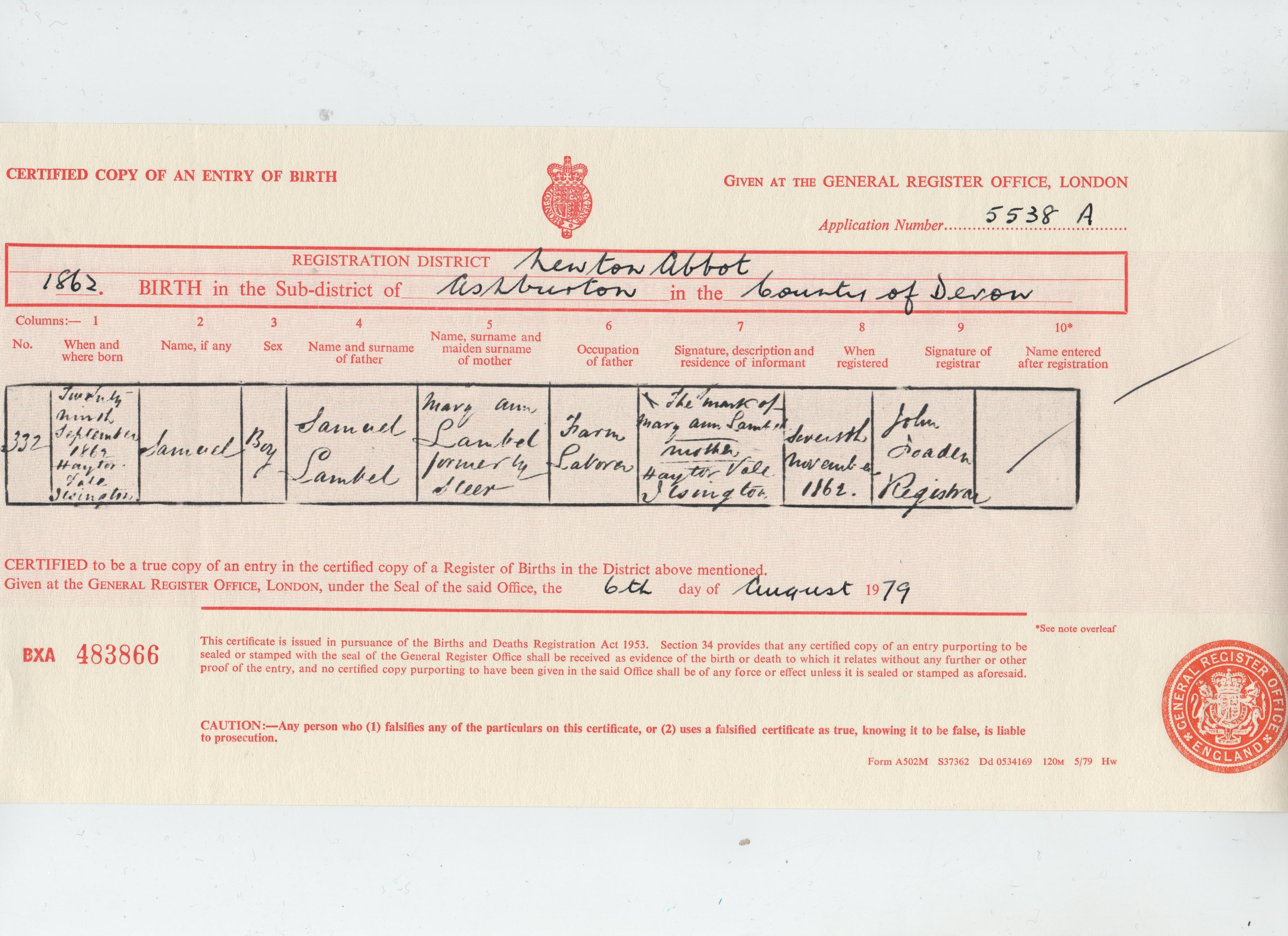 Samuel Lambell 1862 birth cert