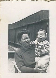 My mother and me in the play yard