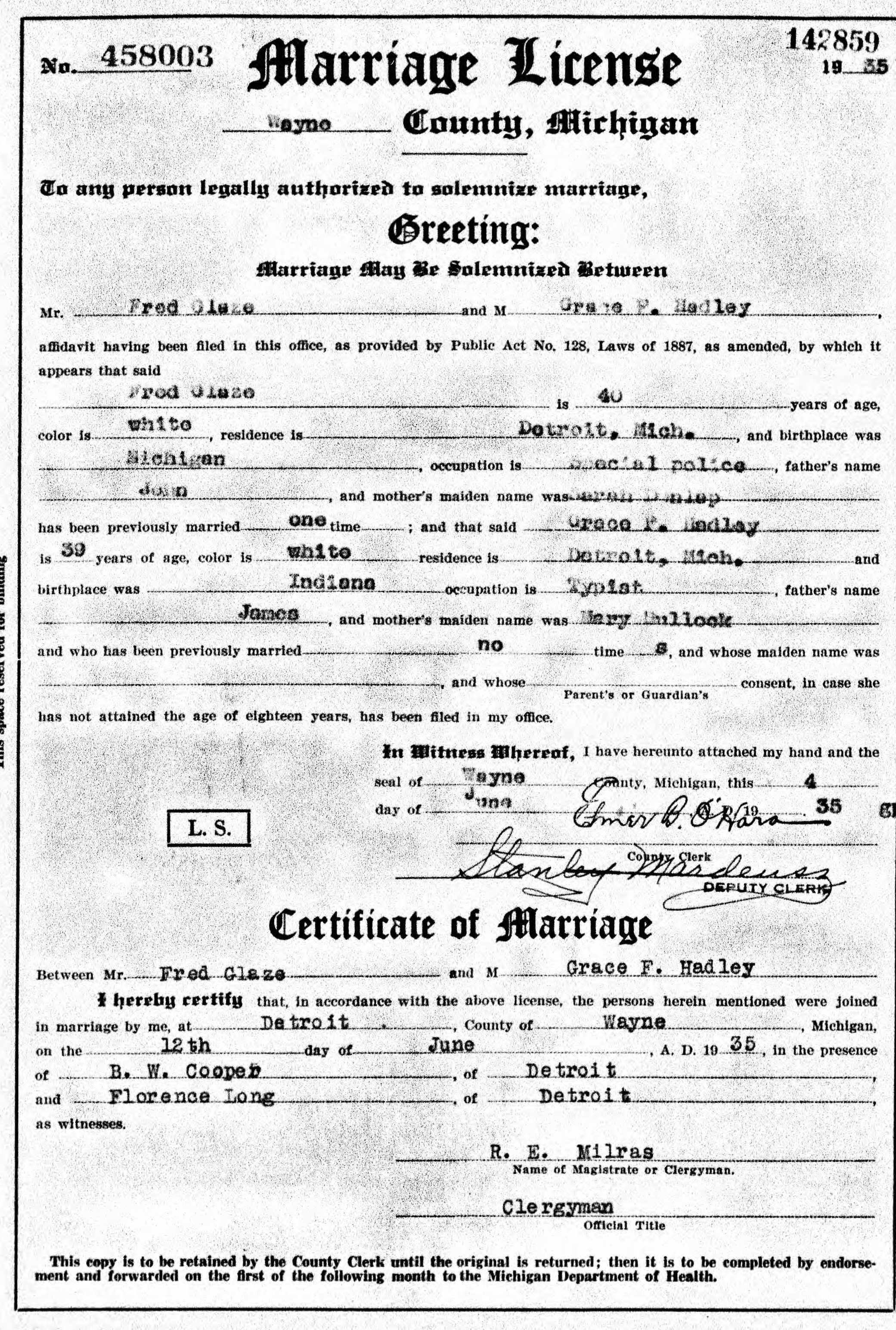 1935 Marriage Fred Glaze And Grace Hadley