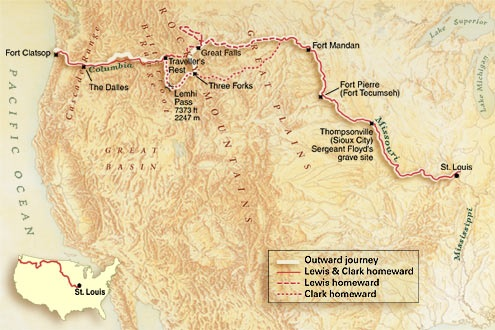 a history of the lewis and clark expedition across the united states of america Explored the louisiana territory and western north america biography: lewis and clark were  lewis and clark expedition  history geography united states.