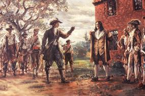 Governor Berkeley standing before Bacon and his men challenging them to shoot him  Sidney King Painting
