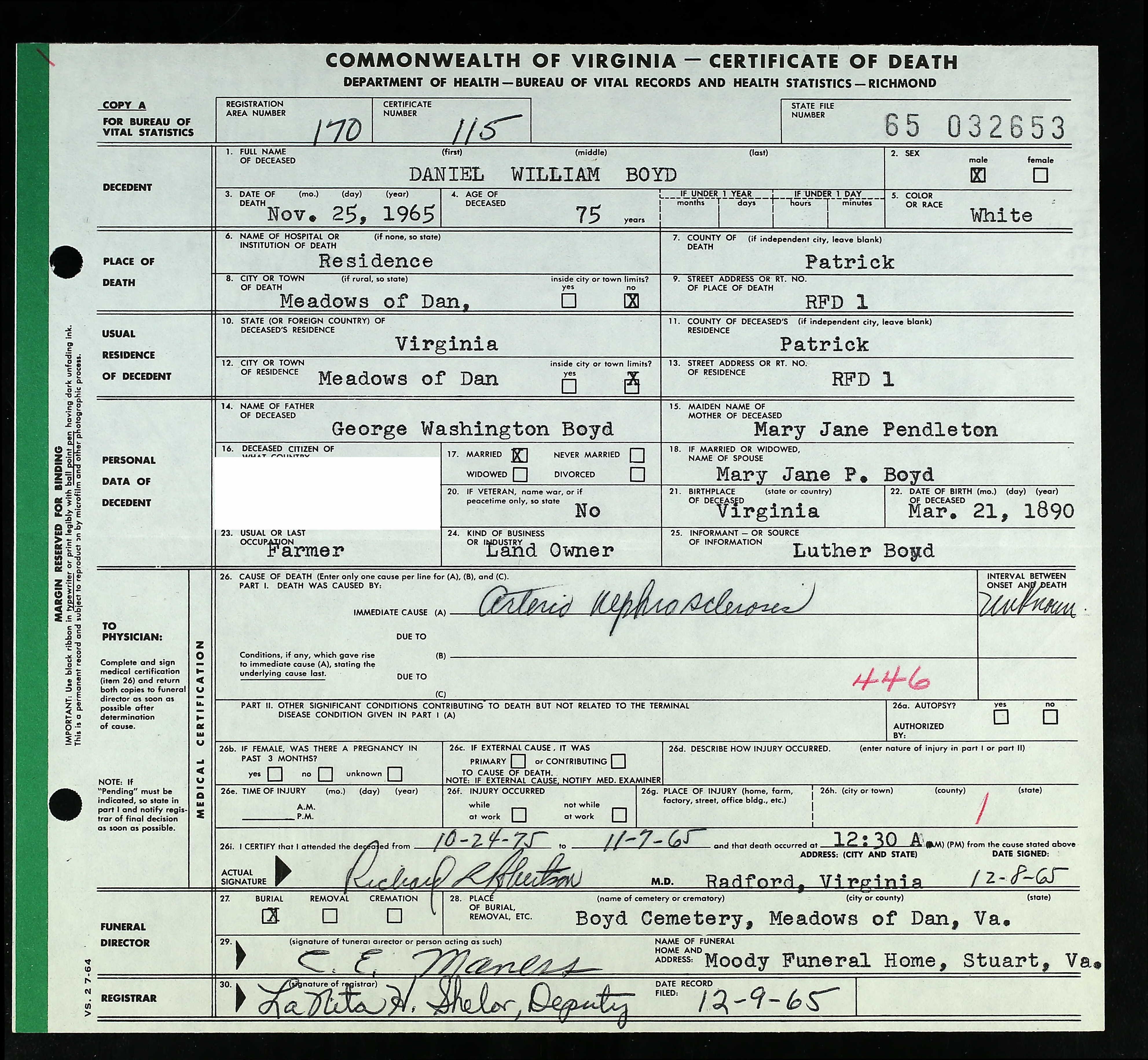 Virginia Death Records 1912 2014 For Daniel William Boyd