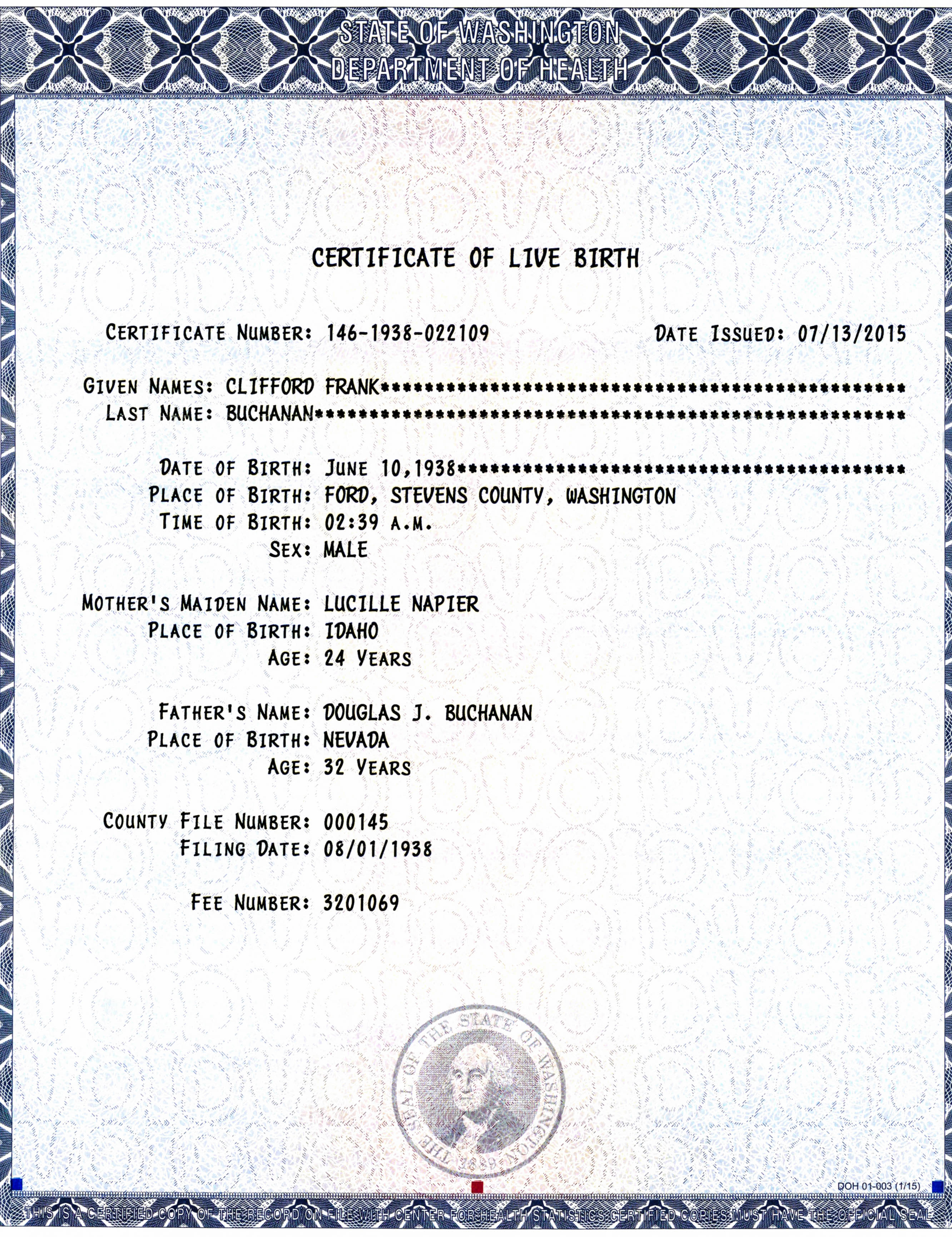 certificate birth state washington buchanan health department clifford death copy wikitree 2484 sample napier maryland lucille