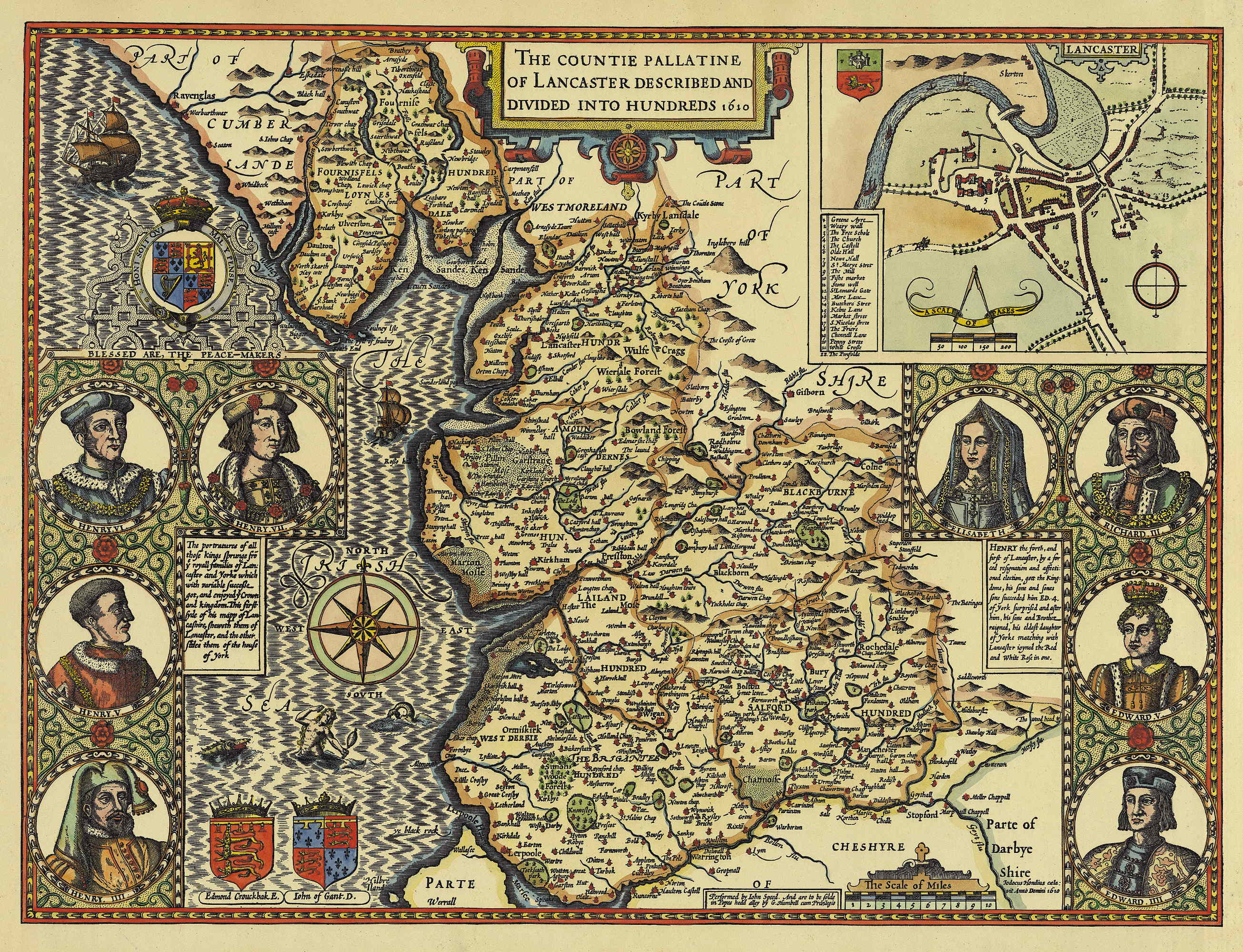 Map Of England Lancaster.Map Of The County Palatine Of Lancaster England